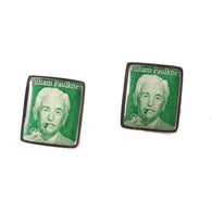 1987 WILLIAM FAULKNER  POSTAGE STAMP CUFFLINKS New Orleans Cufflinks