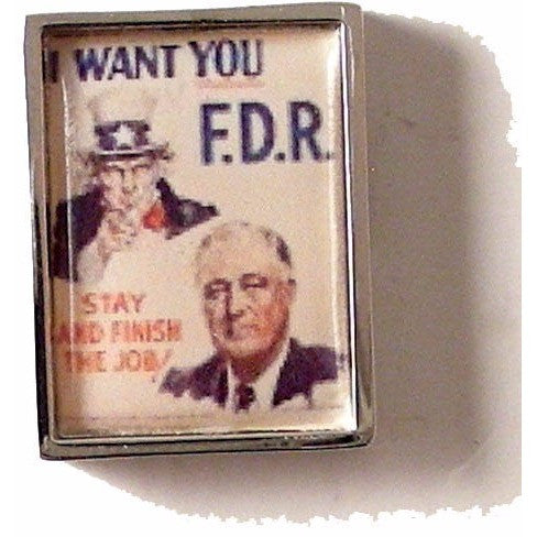FDR CAMPAIGN POSTER LAPEL PIN New Orleans Cufflinks