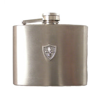 Load image into Gallery viewer, 4 OZ STAINLESS STEEL FLEUR DI LIS FLASK