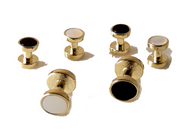 GOLD REVERSIBLE STUD SET NEW ORLEANS CUFFLINKS