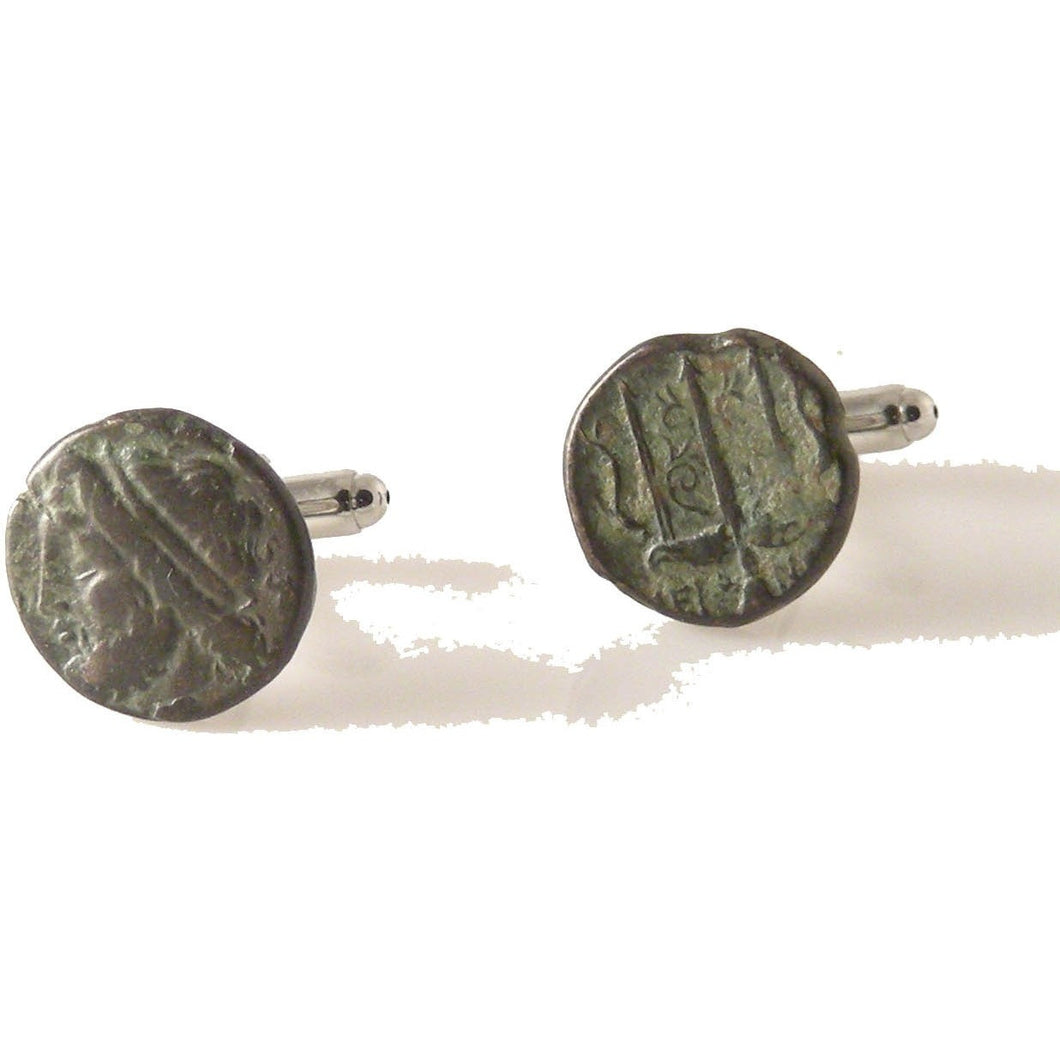BRONZE GREEK SYRACUSE WITH POSIDEON HEAD AND TRIDENT CUFFLNKS New Orleans Cufflinks