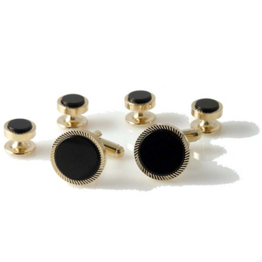 GOLD ROUND DIAMOND CUT STUD SET WITH ONYX New Orleans Cufflinks