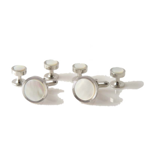 SILVER DIAMOND CUT BORDER CUFFLINK AND TUXEDO STUD SET W MOTHER OF PEARL