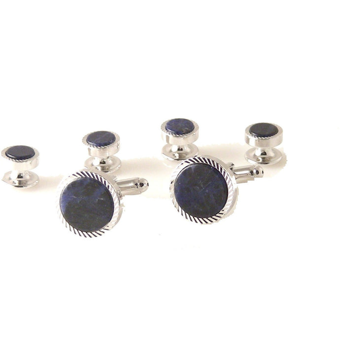 SILVER ROUND DIAMOND  STUD SET WITH SODALITE