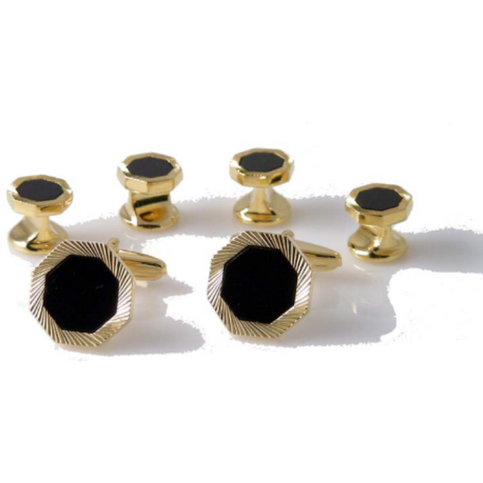 GOLD OCTAGON DIAMOND CUT  STUD SET WITH ONYX new orleans cufflinks