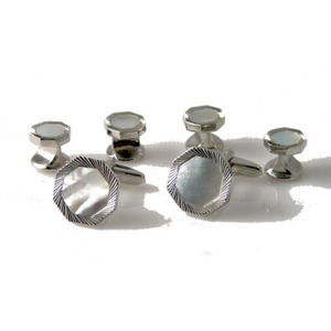 SILVER OCTAGON DIAMOND CUT CUFFLINK AND TUXEDO STUD SET WITH MOTHER OF PEARL