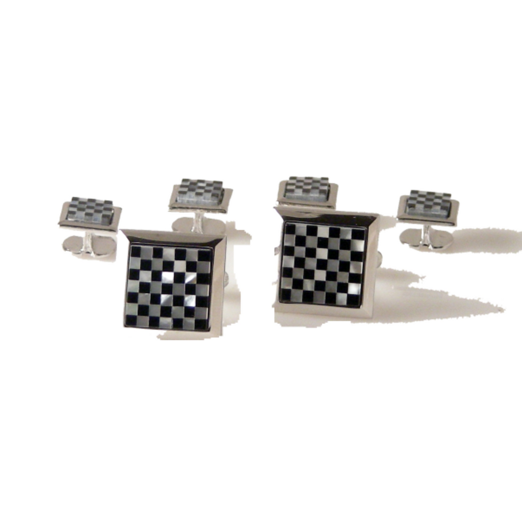 SILVER ONYX AND MOTHER OF PEARL CHECKERBOARD CUFFLINK AND TUXEDO STUD SET
