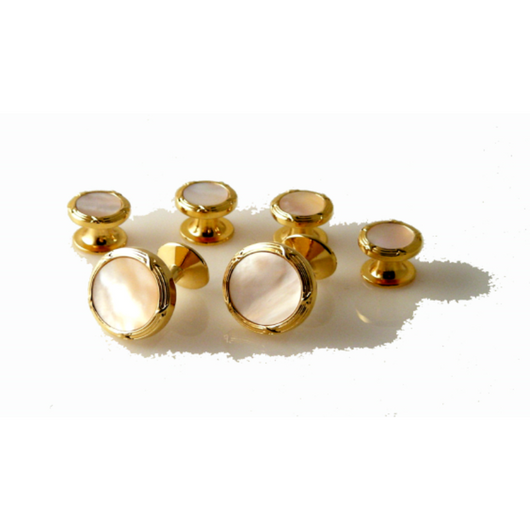 GOLD ANTIQUE BORDER CUFFLINK AND STUD SET WITH MOTHER OF PEARL New Orleans Cufflinks