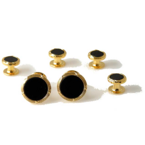GOLD ANTIQUE BORDER STUD SET WITH ONYX