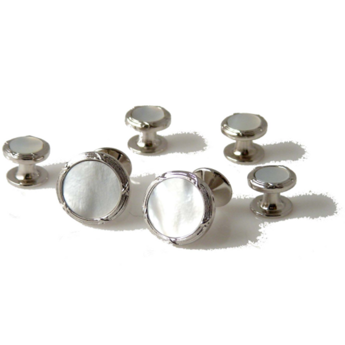 SILVER ANTIQUE BORDER CUFFLINK AND TUXEDO STUD SET WITH MOTHER OF PEARL New Orleans Cufflinks