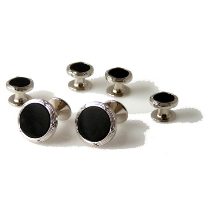 SILVER ANTIQUE BORDER CUFFLINK AND TUXEDO STUD SET WITH ONYX New Orleans Cufflinks