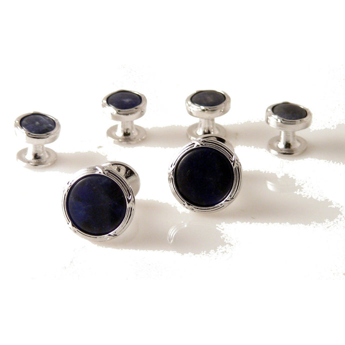 SILVER ANTIQUE BORDER STUD SET WITH SODALITE