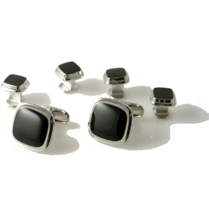 SILVER PILLOW CUFFLINK AND TUXEDO STUD SET