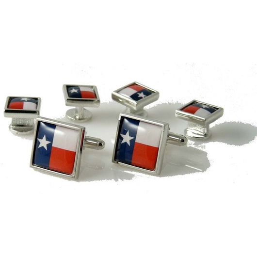 TEXAS FLAG CUFFLINK AND TUXEDO STUD SET