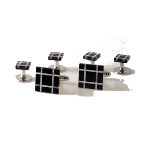 ONYX AND MOTHER OF PEARL PLAID MOSAIC STUD SET New Orleans Cufflinks