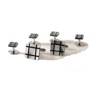 MOTHER OF PEARL AND ONXY PLAID MOSAIC STUD SET New Orleans Cufflinks