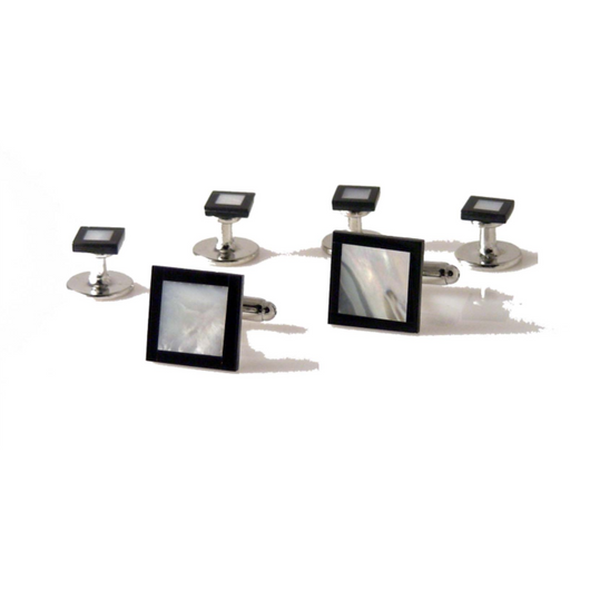 ONYX AND MOTHER OF PEARL SQUARE TARGET STUD SET New Orleans Cufflinks