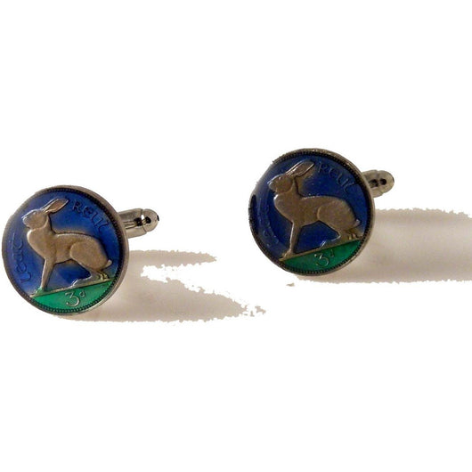 IRISH THREE PENCE HAND ENAMELED COIN CUFFLINKS New Orleans Cufflinks