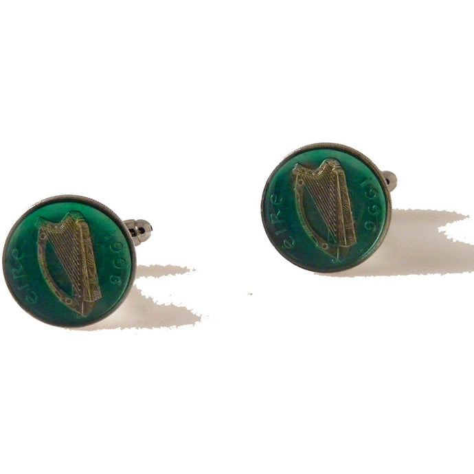 AUTHENTIC ENAMELED  FIVE PENCE IRISH COIN CUFFLINKS New Orleans Cufflinks