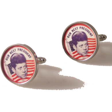 JFK CAMPAIGN BUTTON CUFFLINKS New Orleans Cufflnks
