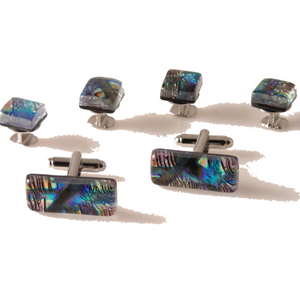 KALEIDOSCOPE GLASS HAND CRAFTED STUD SET New Orleans Cufflinks