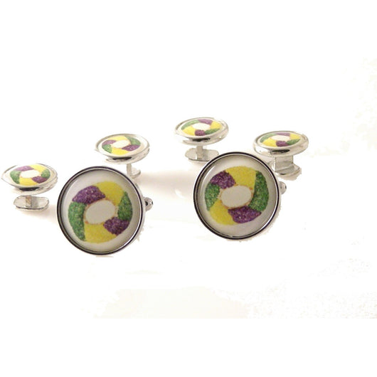 KING CAKE CUFFLINK AND TUXEDO STUD SET New Orleans Cufflinks