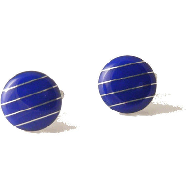 LAPIS CUFFLINKS WITH SILVER STRIPE New Orleans Cufflinks