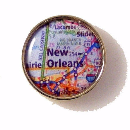 CUSTOM MAP LAPEL PIN New Orleans Cufflinks