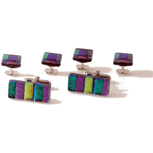 MARDI GRAS  HAND CRAFTED GLASS STUD SET New Orleans Cufflinks