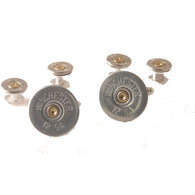 AUTHENTIC 12 GAUGE NICKEL SHOTGUN SHELL STUD SET New Orleans Cufflinks