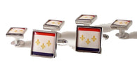 new orleans flag cufflink and tuxedo stud set new orleans cufflinks