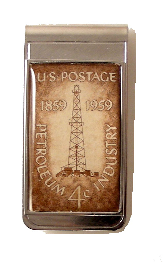 POSTAGE STAMP OIL RIG MONEY CLIP NEW ORLEANS CUFFLINKS