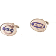 SILVER OVAL CUSTOM LOGO CUFFLINKS