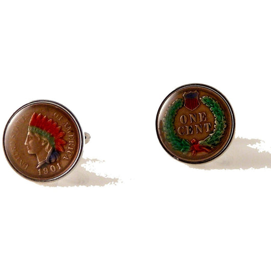 HAND PAINTED INDIAN HEAD PENNY CUFFLINKS New Orleans Cufflinks