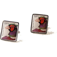 1998 RING NECKED PHEASANT POSTAGE STAMP CUFFLINKS New Orleans Cufflinks