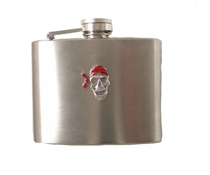 4 OZ STAINLESS STEEL PIRATE FLASK