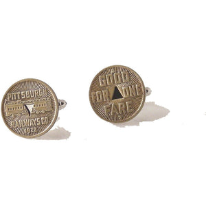 VINTAGE PITTSBURGH 1922 RAILWAY TOKEN CUFFLINKS