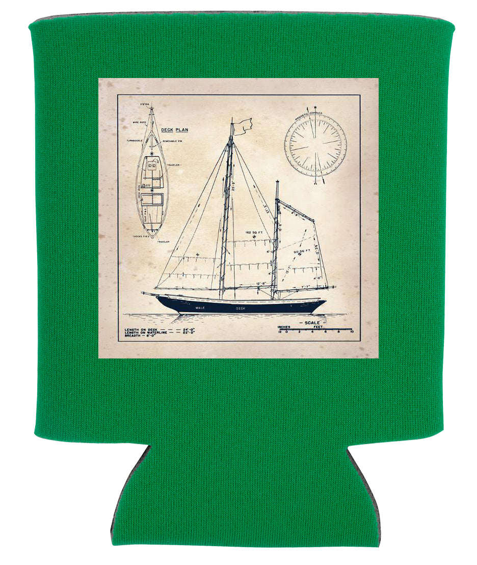 SAILBOAT BLUEPRINT KOOZIE