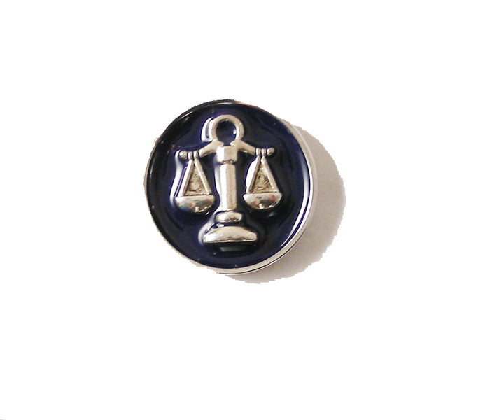 HAND ENAMELLED SCALES OF JUSTICE LAPEL PIN