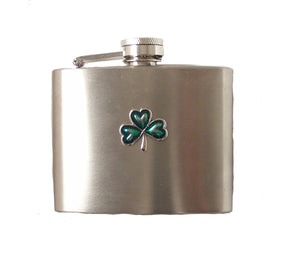 4 OZ STAINLESS STEEL SHAMROCK FLASK