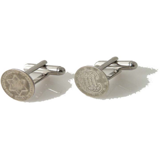 AUTHENTIC SILVER 3 CENT PIECE CUFFLINKS New Orleans Cufflinks