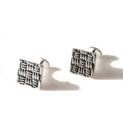 .925 STERLING SQUARE BASKETWEAVE CUFFLINKS New Orleans Cufflinks