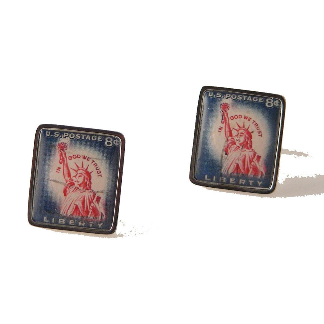 1958 STATUE OF LIBERTY POSTAGE STAMP CUFFLINKS New Orleans Cufflinks