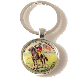 TEDDY ROOSEVELT CAMPAIGN BUTTON KEY RING