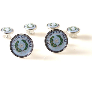TEXAS STATE SEAL CUFFLINK AND TUXEDO STUD SET