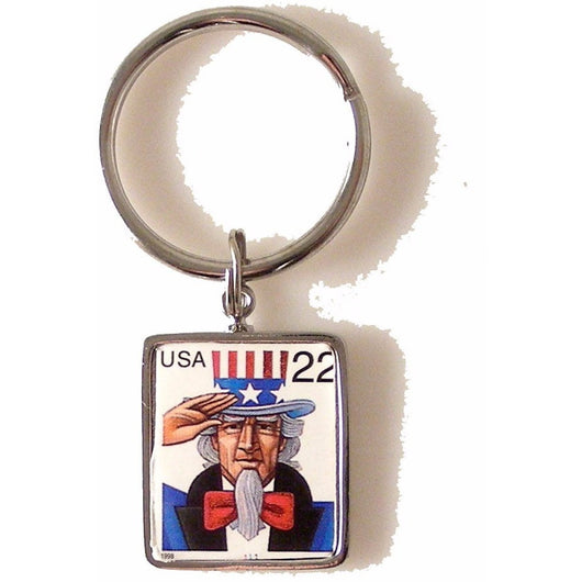 1998 UNCLE SAM POSTAGE STAMP KEY RING New Orleans Cufflinks