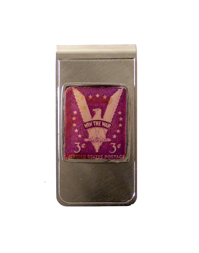 AUTHENTIC 1941 WIN THE WAR POSTAGE STAMP MONEY CLIP