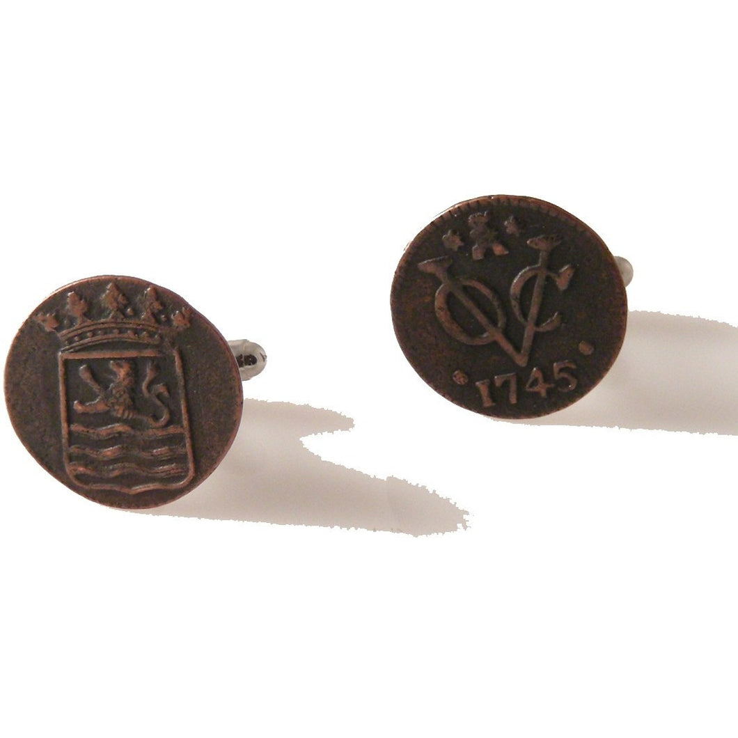 voc copper duit cufflinks new orleans cufflinks