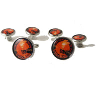CUSTOM SILVER ROUND LOGO  STUD SET New Orleans Cufflinks