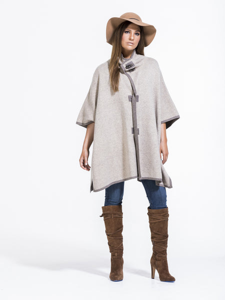Michelle Toggle Poncho in Oatmeal/Taupe - 16F4152